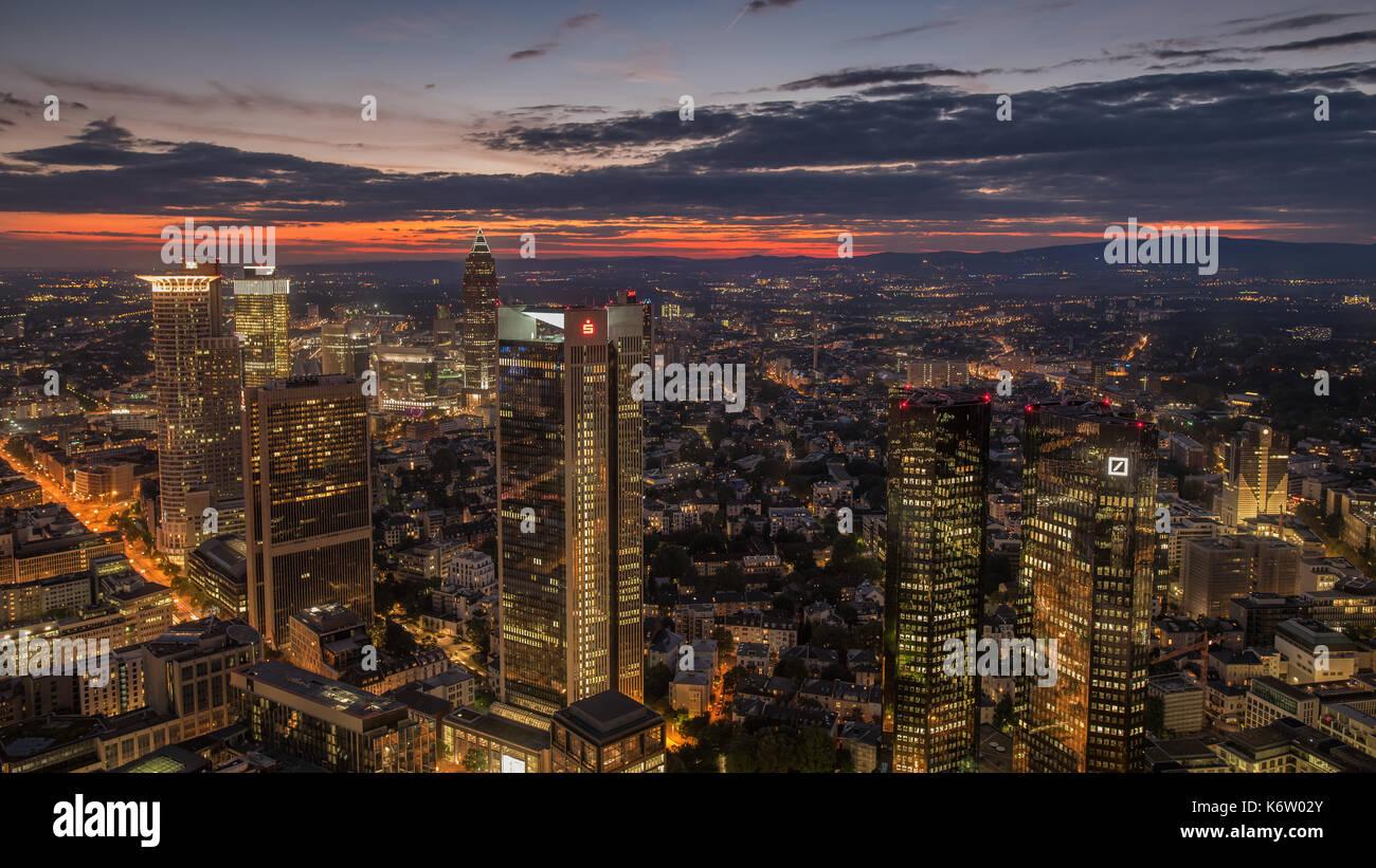 Frankfurt, GER - September 05, Skyline Frankfurt, Maintower. Im Bild: Deutsche Bank, Deka Gruppe, Sparkasse,Tower 185, DZ Bank, Westend Tower, Voksban - Stock Image