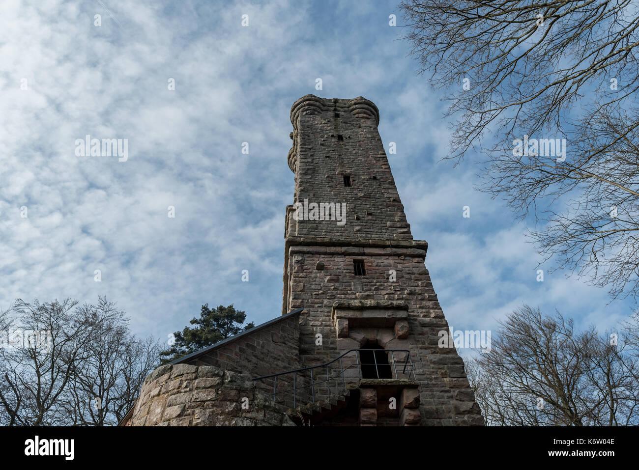Merzalben, GER, Rheinlandpfalz - February 12, Luitpoldturm im Pfälzer Wald bei Merzalben, Pfälzerwald . Im Bild: Aussenansicht des Turms . - Stock Image