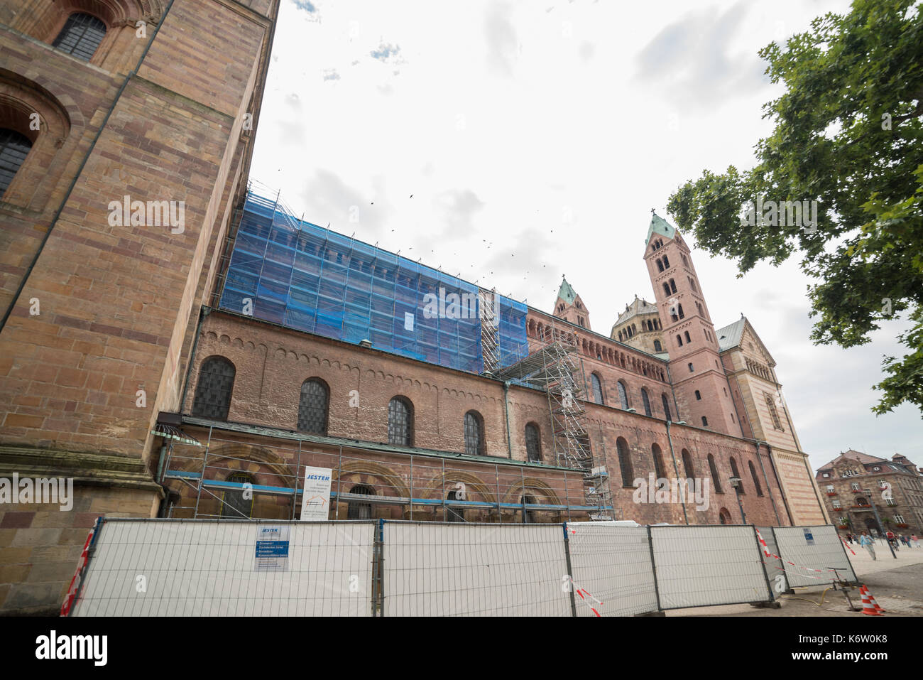 Reisen, Deutschland, Rheinland-Pfalz, Speyer, Innenstadt, September 04. Restauration, Bauarbeiten an der Nordseite des Doms - Stock Image