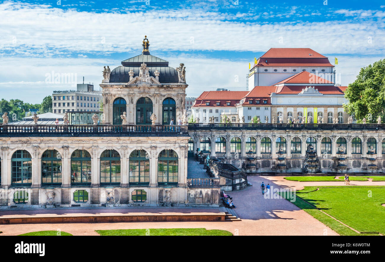 Germany, Saxony, Dresden, view of the Porcelain Pavilion at the Dresdner Zwinger palace - Stock Image