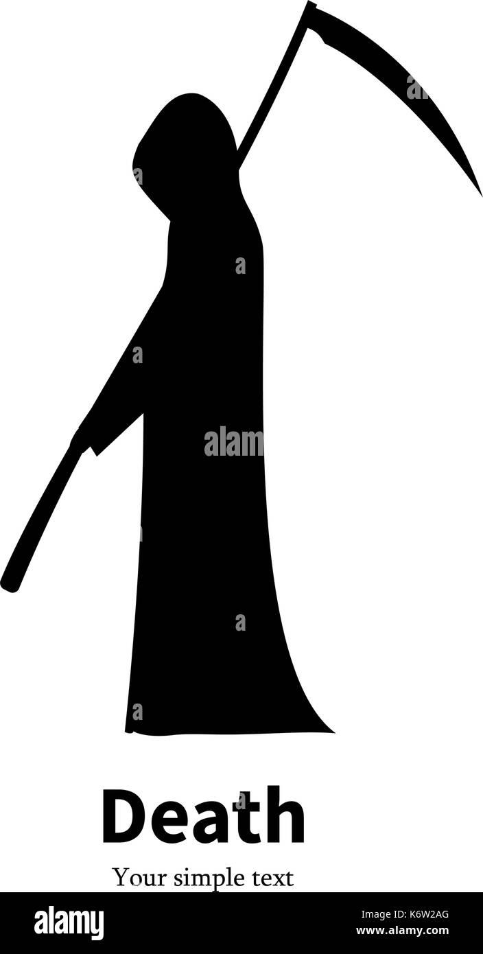 Vector illustration black silhouette grim Reaper - Stock Image