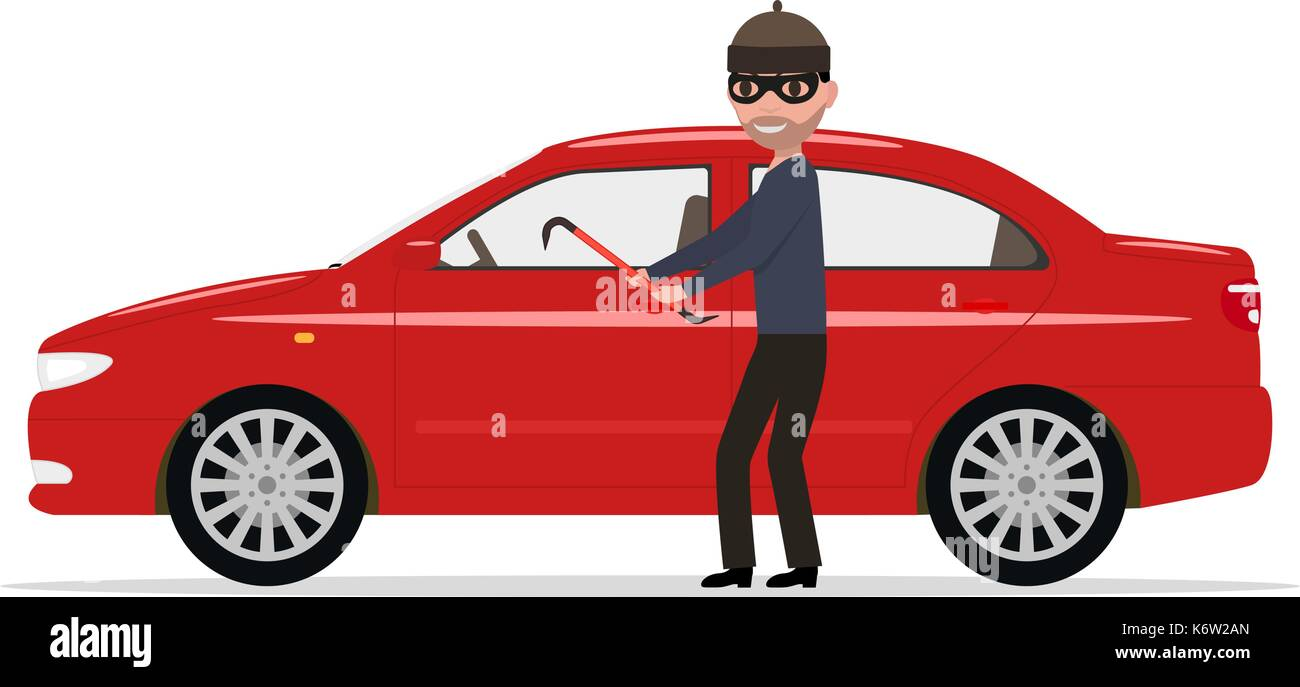 Vector illustration cartoon robber steals a car - Stock Image