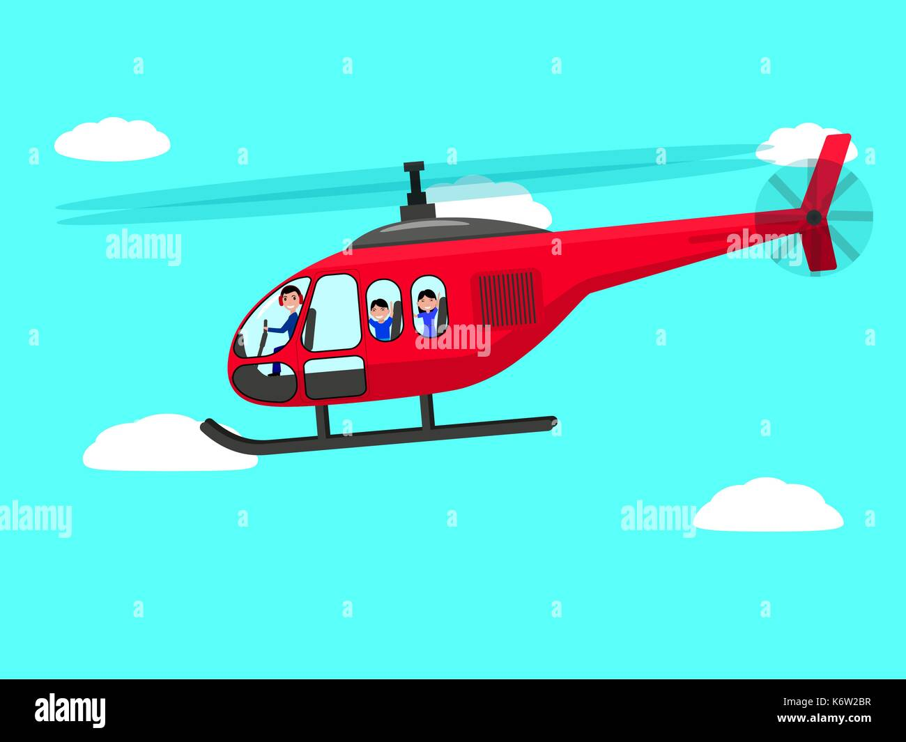 Vector cartoon helicopter people flying sky - Stock Image
