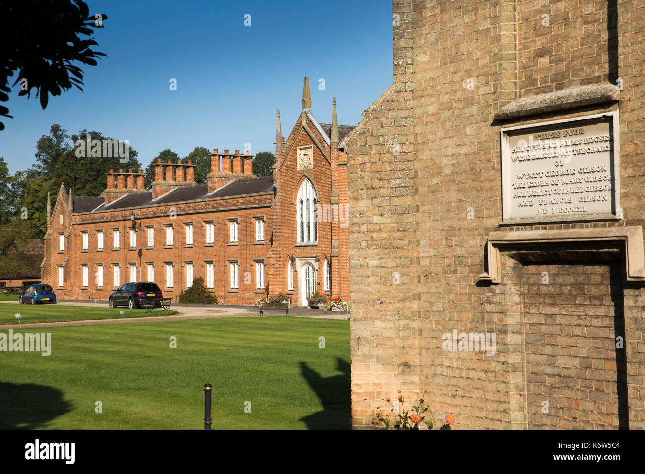 UK, England, Essex, Saffron Walden, Abbey Lane, King Edward VI Almshouses, Victorian rebuilding on site of original 1400s charitable housing - Stock Image