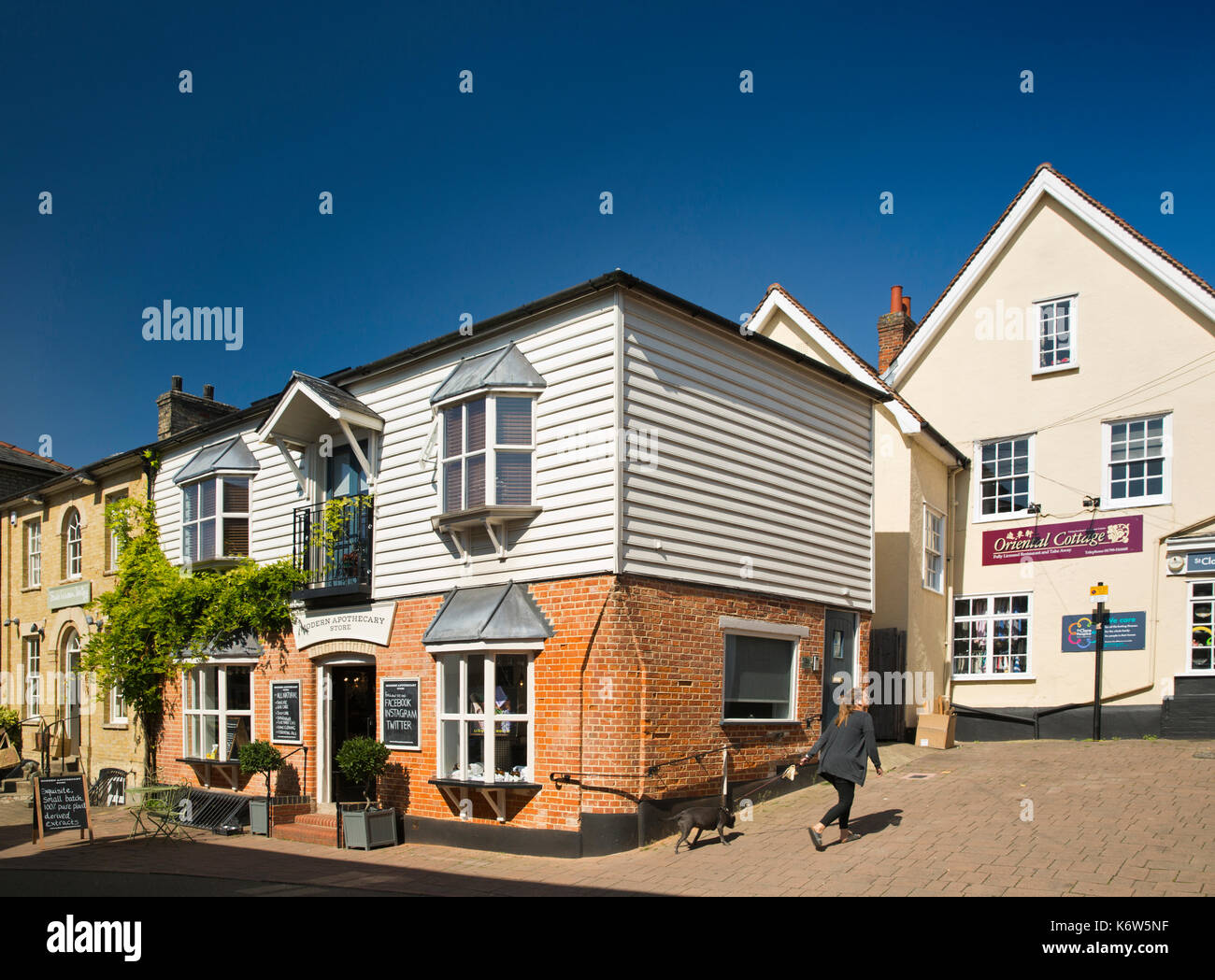 UK, England, Essex, Saffron Walden, town centre, Modern Apothecary Store in The Rows, old market trading area - Stock Image