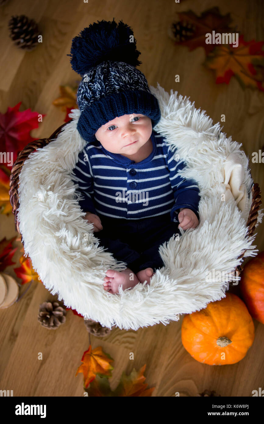 d1fd14840bb Cute newborn baby boy with kblue nitted hat in a basket