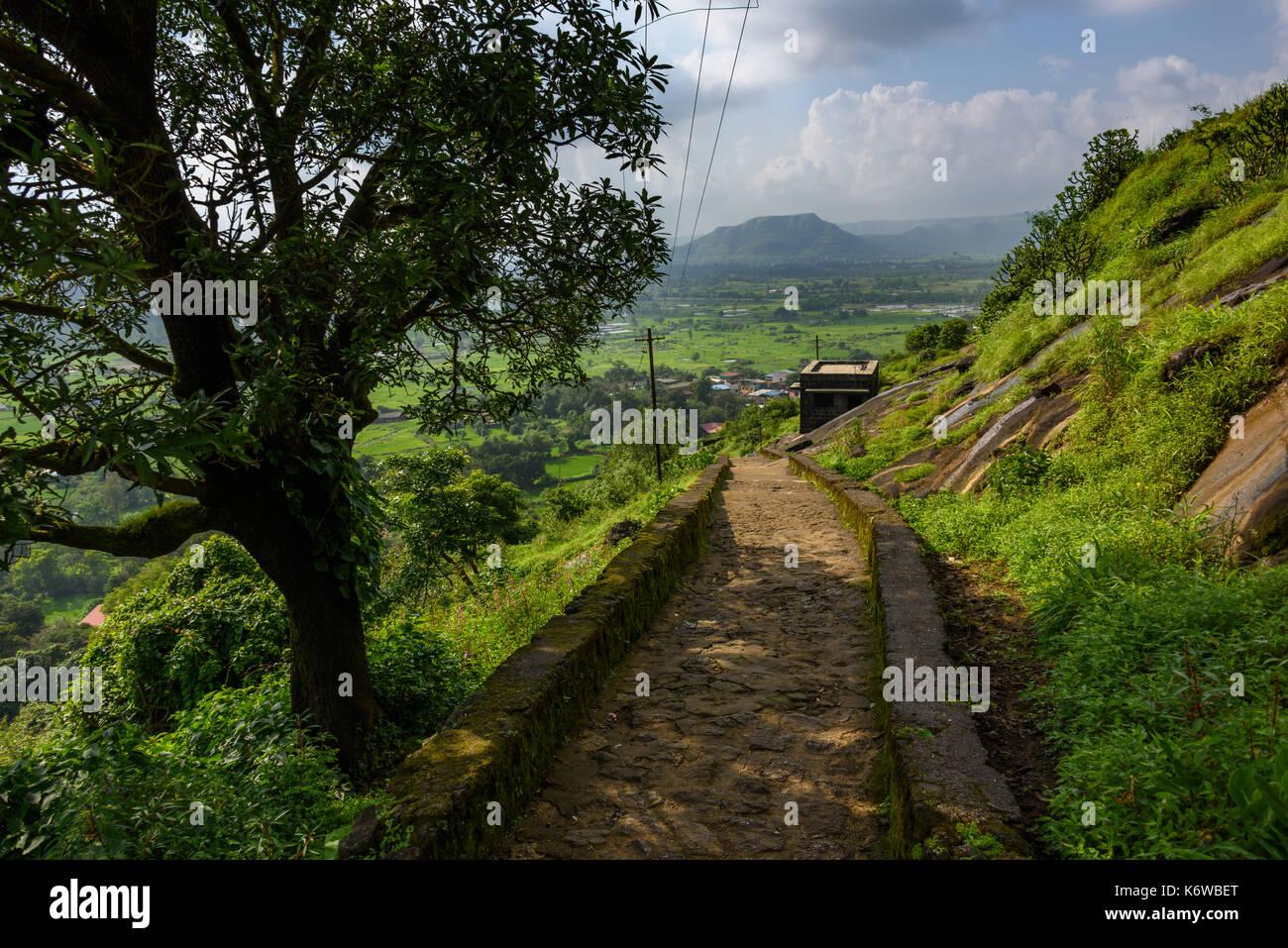 Steps at Bhaja Caves, Maharashtra, India - Stock Image
