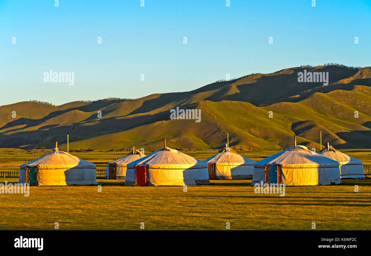 Yurts, tourist camp in the morning light, Orchon Valley, Mongolia - Stock Image