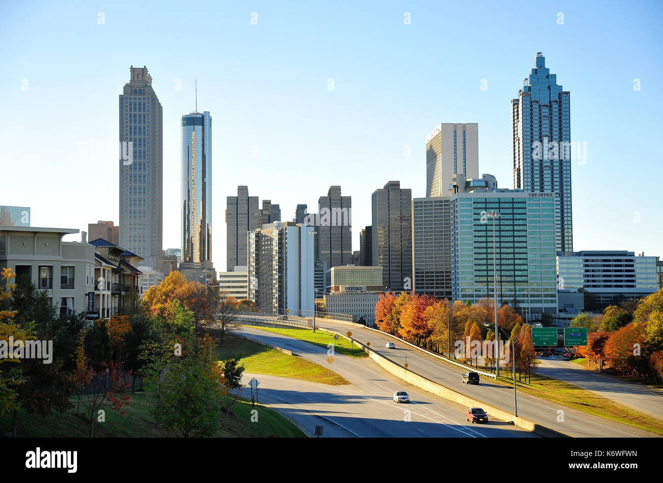 Skyline with skyscrapers, Atlanta, Georgia, USA - Stock Image