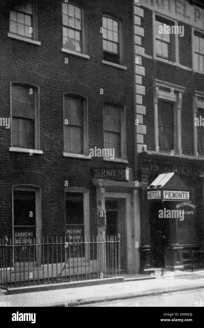 Richard Wagner 's house in Great Titchfield Street, London, where he stayed in 1839. RW, German composer: 22 May 1813 - 13 February 1883. - Stock Image
