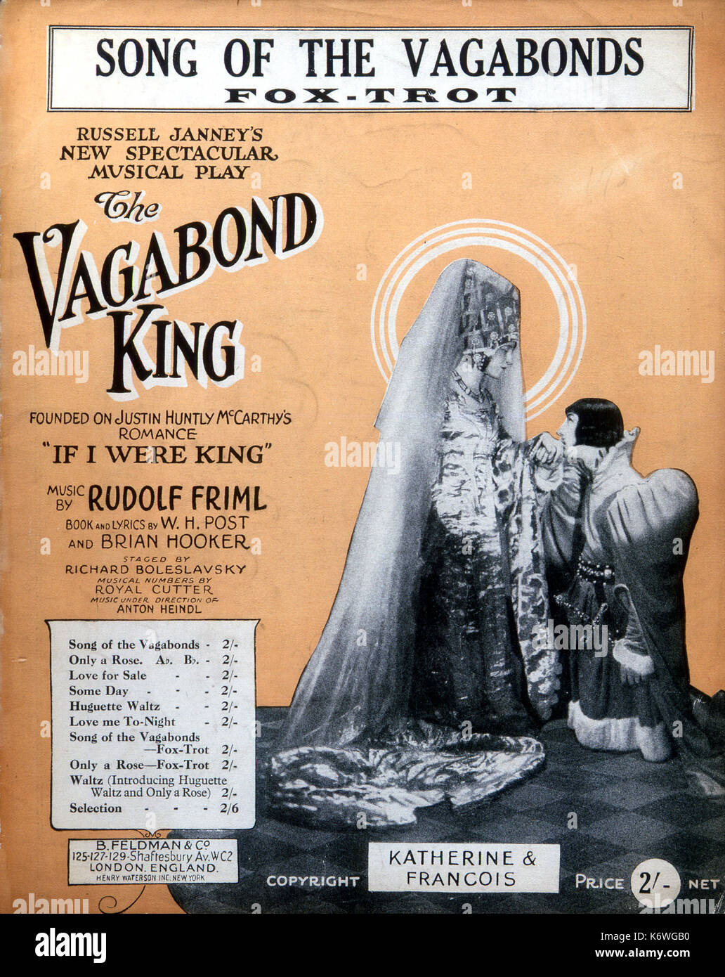 FRIML, Rudolf - THE VAGABOND KING illustrated score cover of 'Song of the vagabonds' from the musical, 'The Vagabond King' Bohemian/American Composer, 1879-1972 - Stock Image