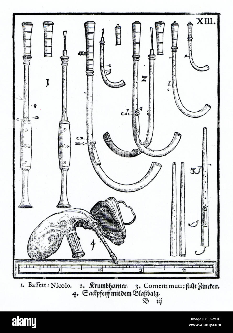 Plate XII from Praetorius's 'Syntagma Musicum' showingconsort/ ensemble of crumhorns, cornamuse, and bagpipe with bellows. Dating from 1619.   16th century Renaissance, 17th century early Baroque.  Praetorius: German composer and musicologist of sacred and profance music, 18 February 1571 - 15 February 1621. - Stock Image