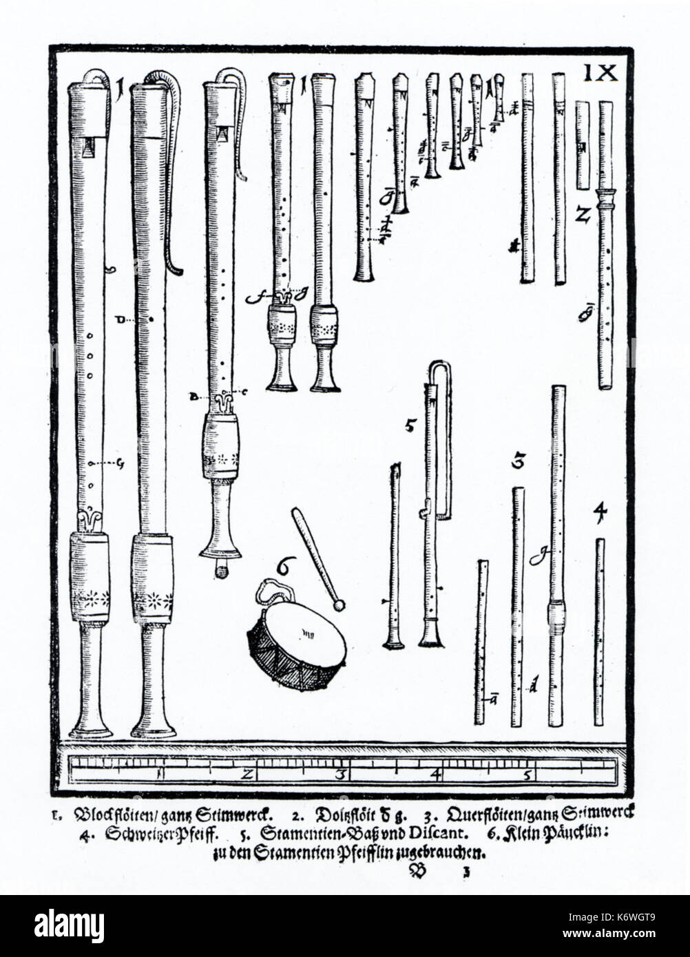 Plate IX from Praetorius's 'Syntagma Musicum' showing: flutes; recorders; 3 hole pipe & tabor; Schweizerpfeiff (military fife).  Dating from 1619.  16th century Renaissance, 17th century early Baroque.  Praetorius: German composer and musicologist of sacred and profance music, 18 February 1571 - 15 February 1621. - Stock Image