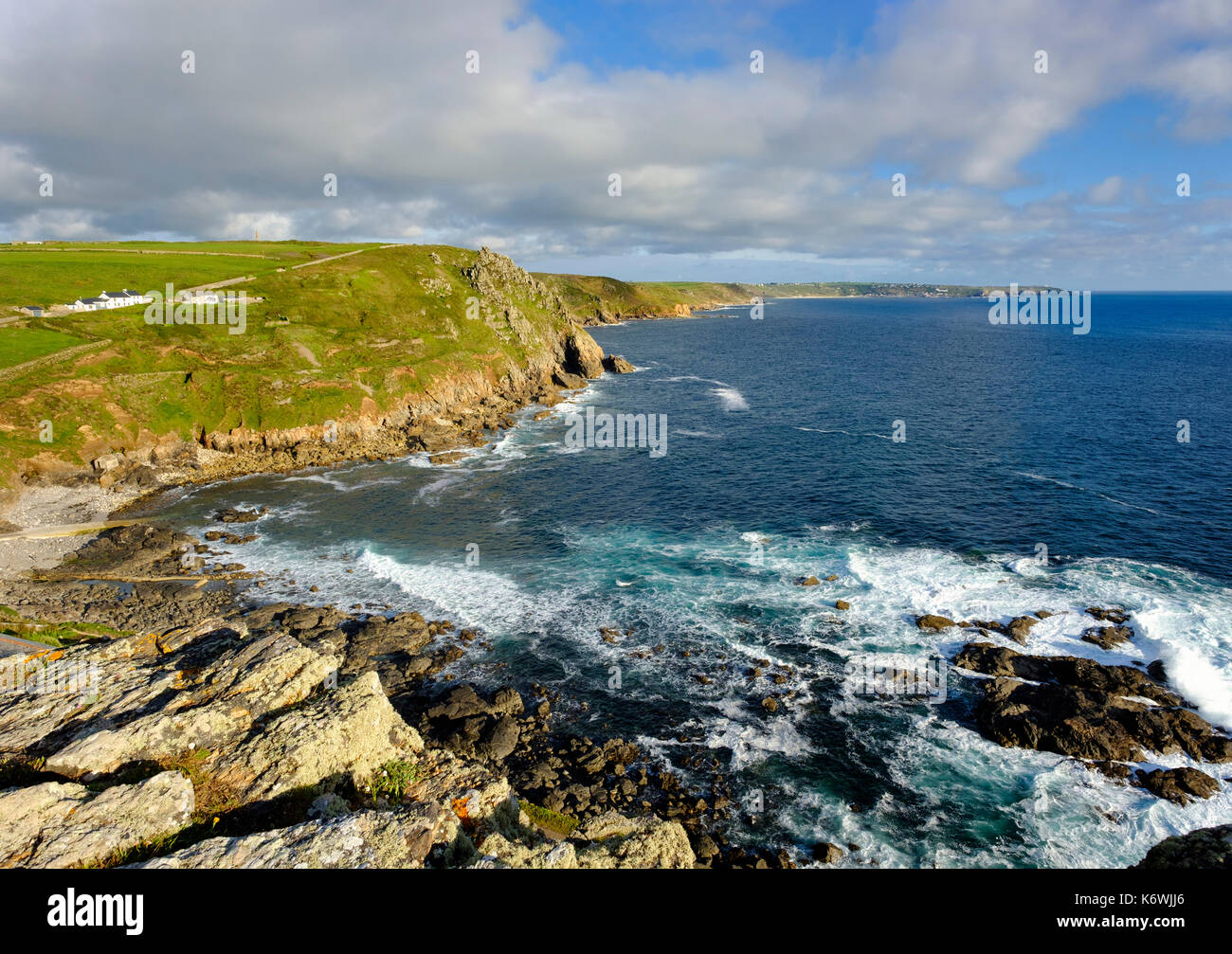 Rocky coast at Cape Cornwall, at St Just in Penwith, behind Land's End, Cornwall, England, Great Britain Stock Photo