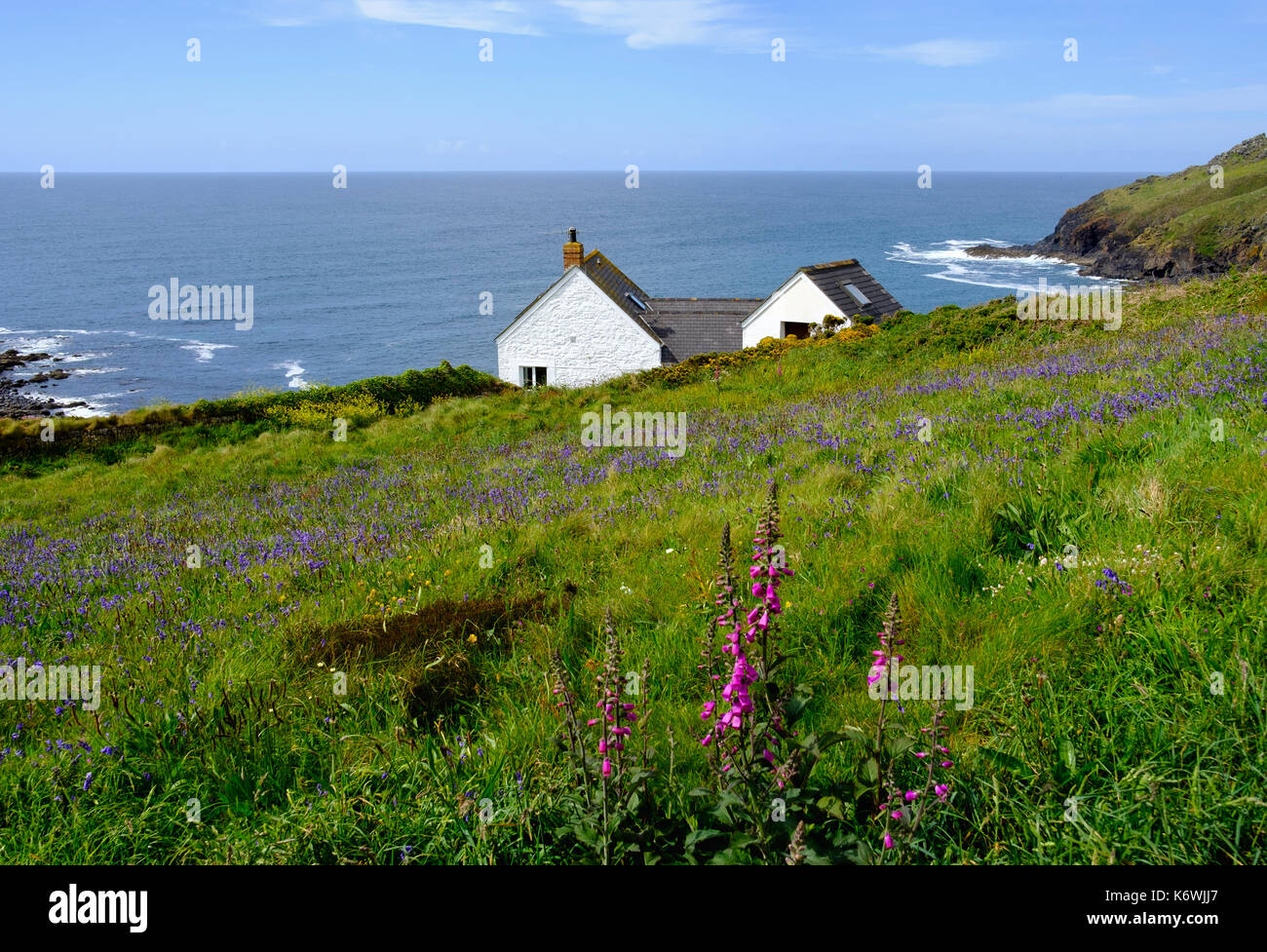 House on cliffs, Cape Cornwall, near St Just in Penwith, Cornwall, England, Great Britain Stock Photo