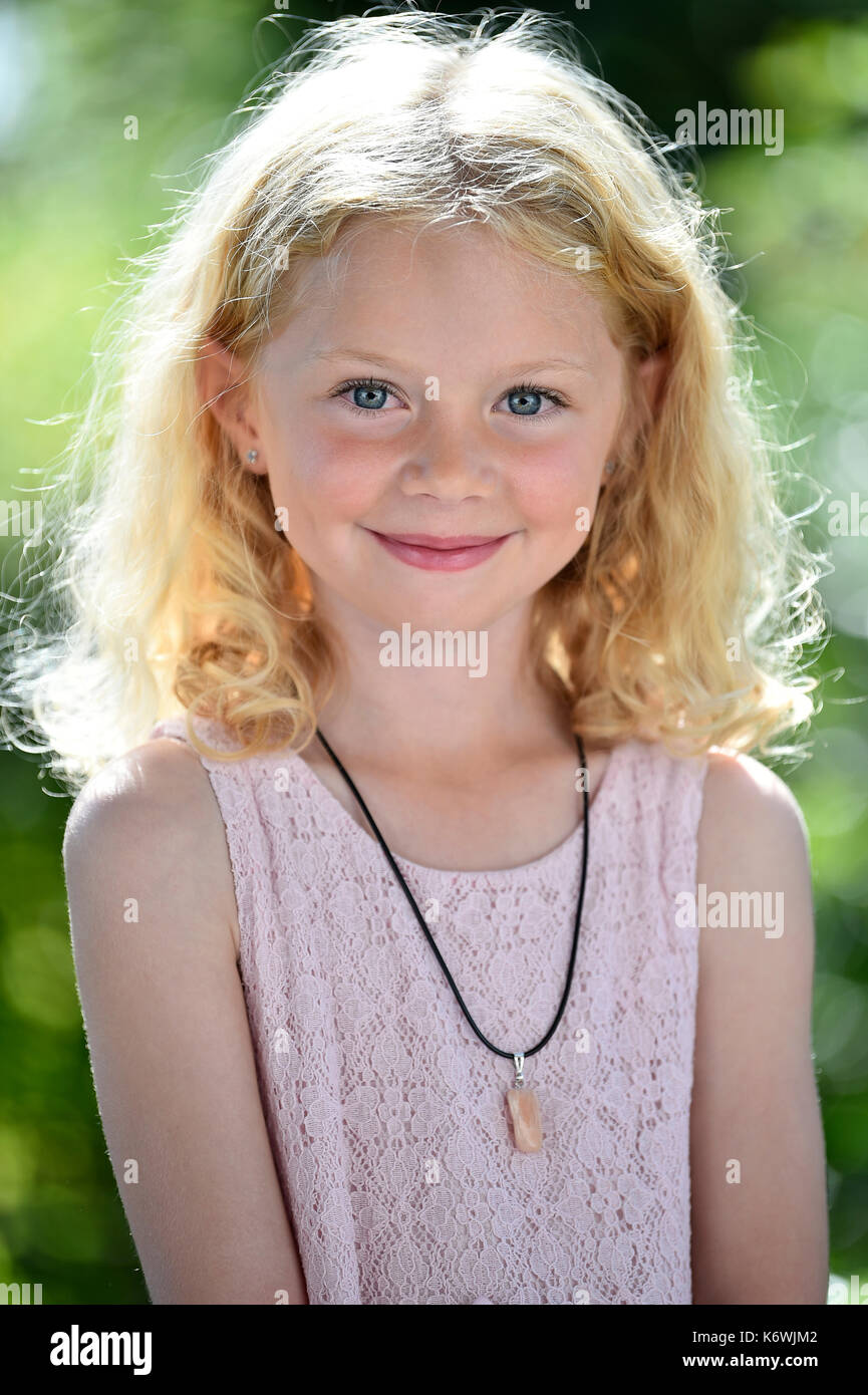 Little Girl With Blonde Hair Sweden Stock Photo