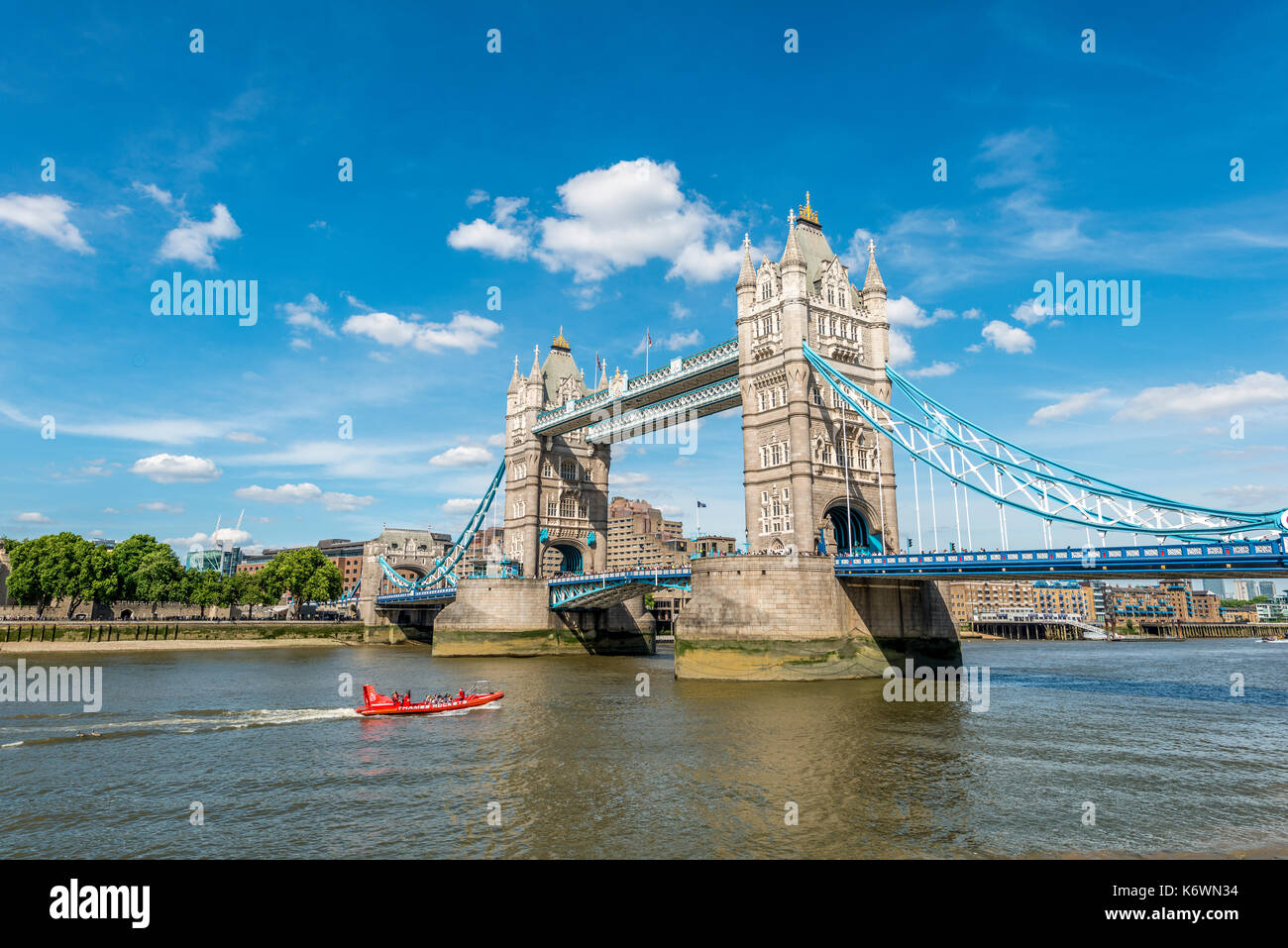 Tower Bridge over the Thames, Southwark, London, England, Great Britain - Stock Image