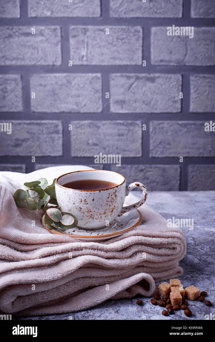 Coffee and wrap, cozy Scandinavian home interior - Stock Image