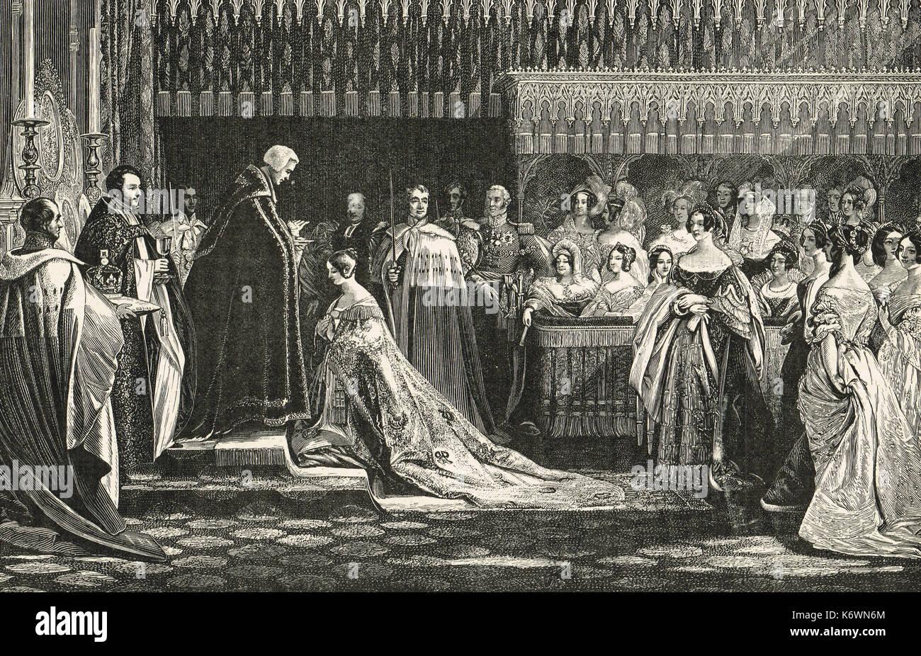 Coronation of Queen Victoria, 28 June 1838, Victoria receiving the sacrament - Stock Image
