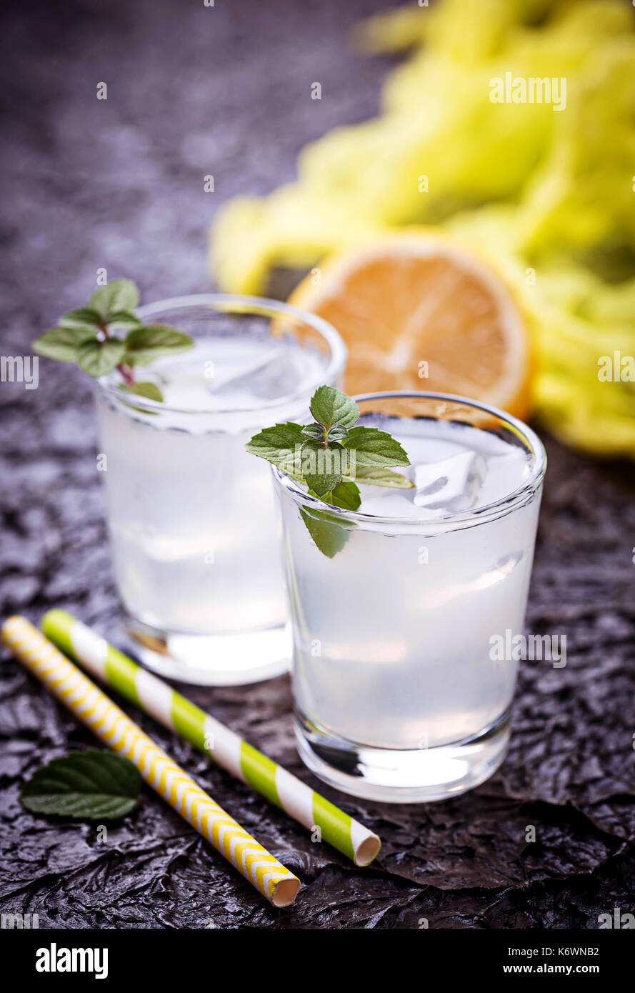 Cold drink with lemon and mint - Stock Image
