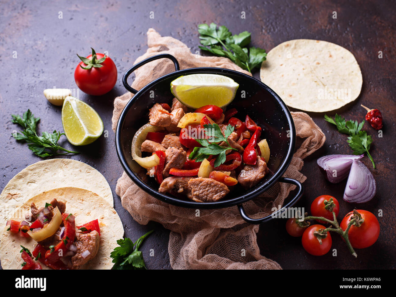 Fajitas with peppers for cooking Mexican tacos - Stock Image