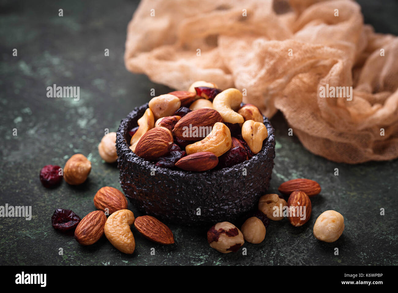 Nuts and dried fruits mix - Stock Image