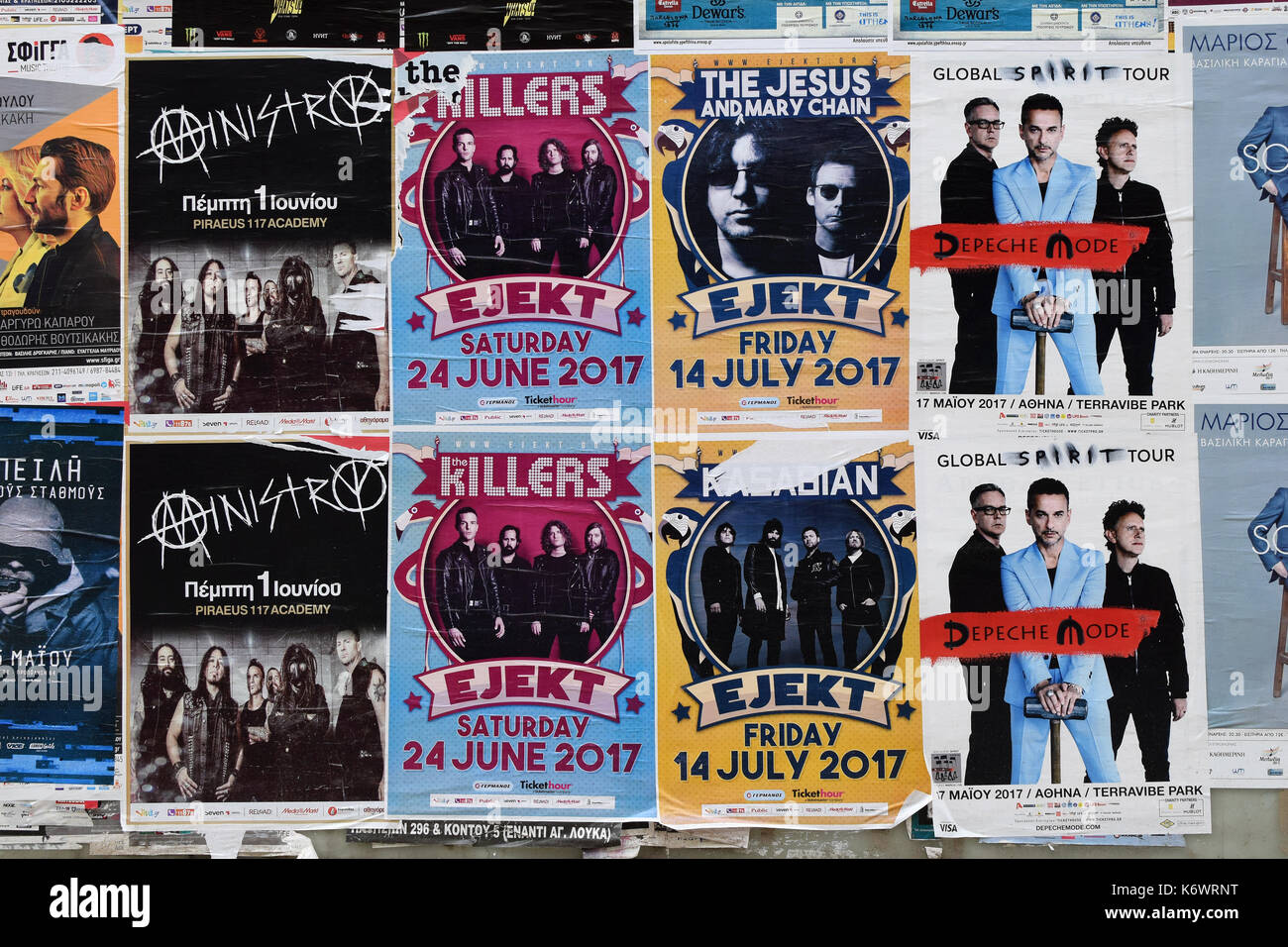 ATHENS, GREECE - APRIL 24, 2017: Wall with concert posters live music by Depeche Mode, Jesus And Mary Chain, Kasabian, The Killers and Ministry. - Stock Image