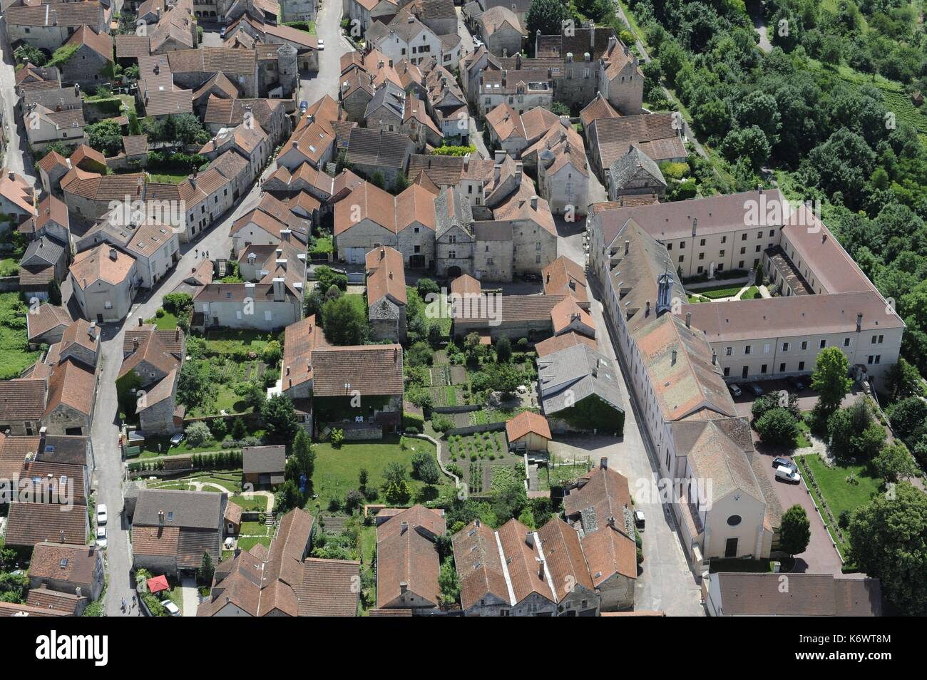 France, Cote d'Or, Flavigny sur Ozerain, labeled The Most Beautiful Villages of France (aerial view) - Stock Image