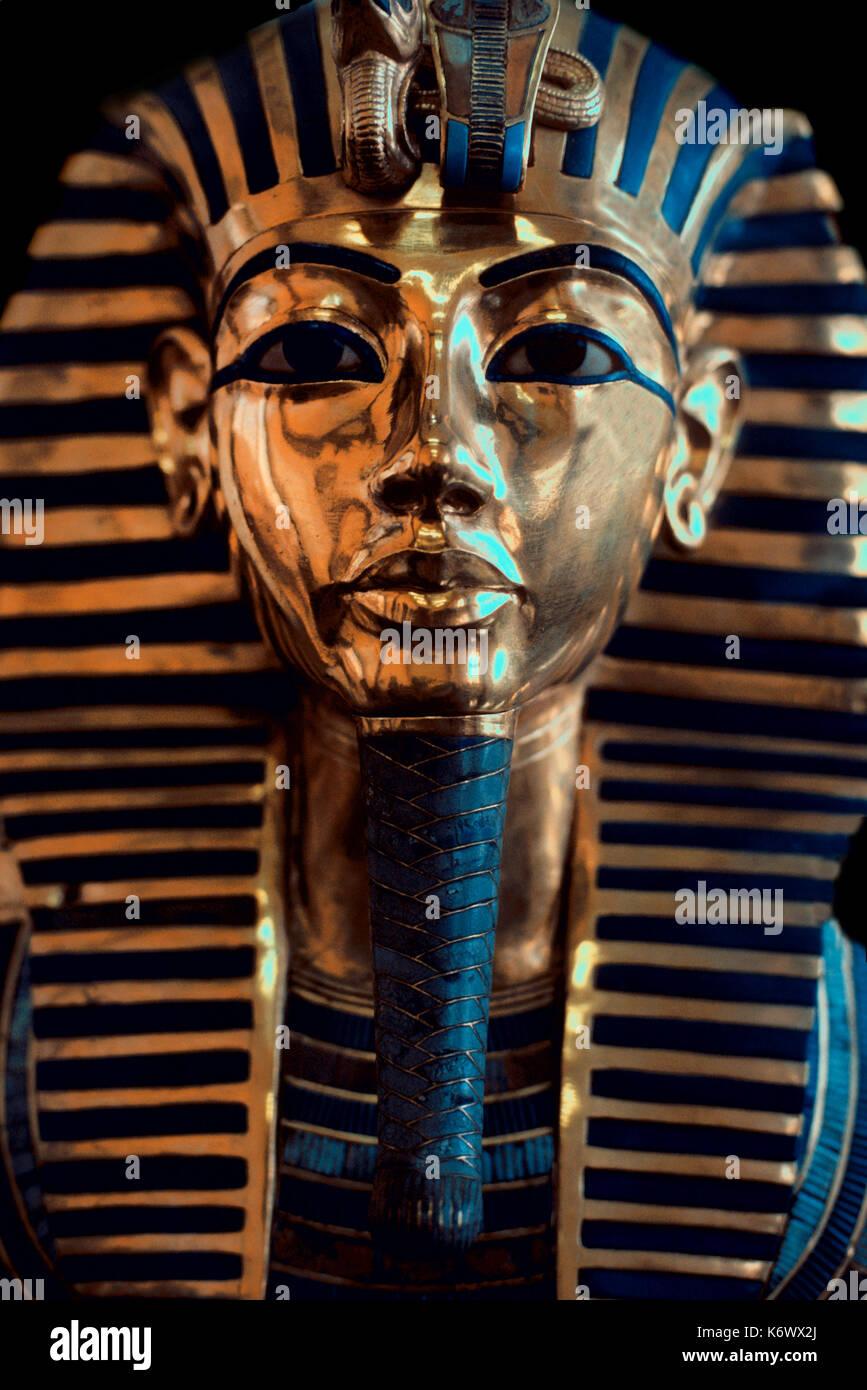 Tutankharmun Face Mask, gold, portrait, Egyptians, funerary, death, pharaoh, mummy, icon, King Tut, Museum, Cairo - Stock Image
