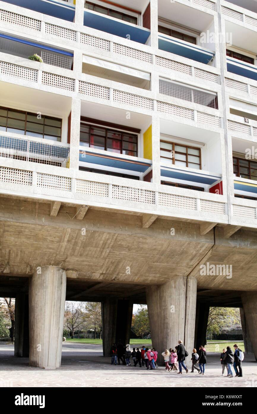France, Bouches du Rhone, Marseille, architectural work of Le Corbusier, listed as World Heritage by UNESCO, 9th arrondissement, the radiant city of the architect Le Corbusier - Stock Image