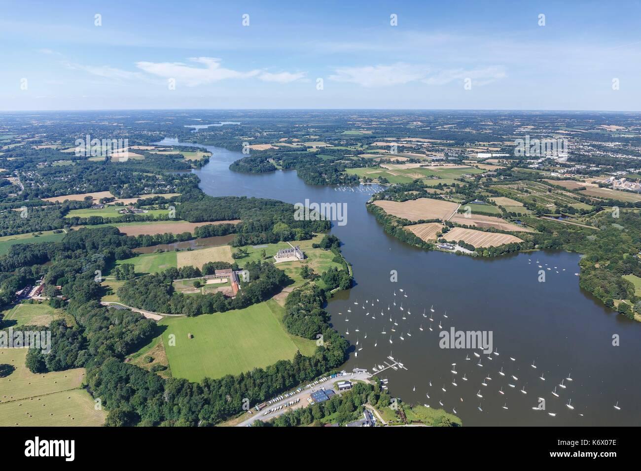 France, Loire Atlantique, La Chapelle sur Erdre, boats on l'Erdre river (aerial view) Stock Photo