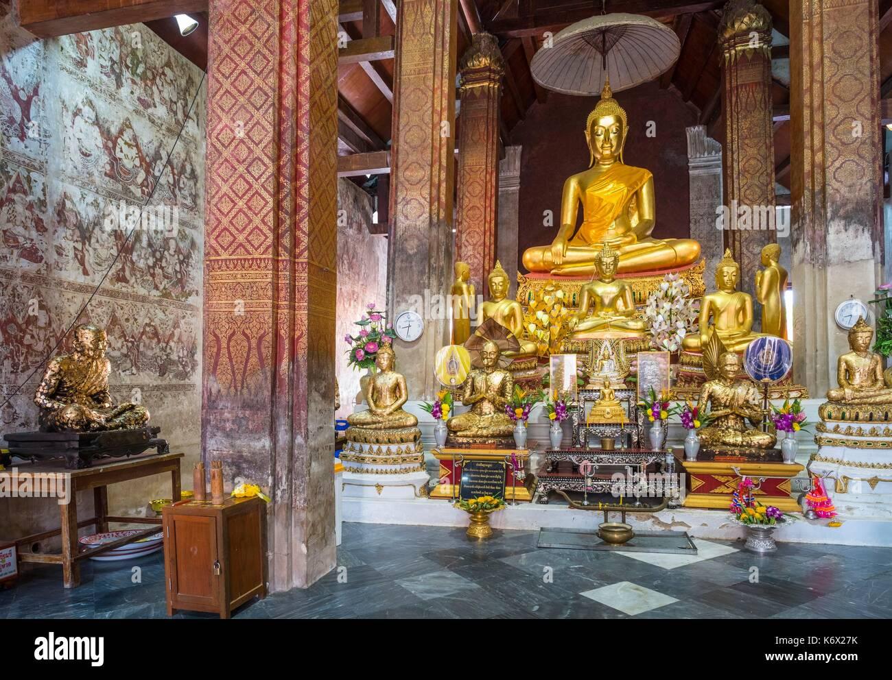 Thailand, Phetchaburi province, Phetchaburi, 17th century Wat Yai Suwannaram temple Stock Photo