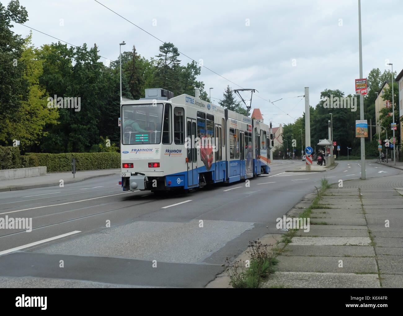 Tram in COttbus, Land Brandenburg. - Stock Image