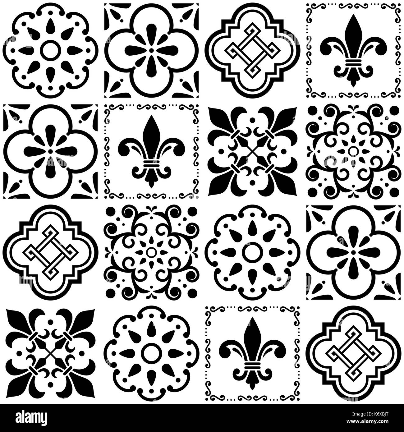 Portuguese vector tiles pattern, Lisbon seamless black and white tile design, Azulejos vintage geometric ceramics   Floral and abstract shapes - Stock Vector