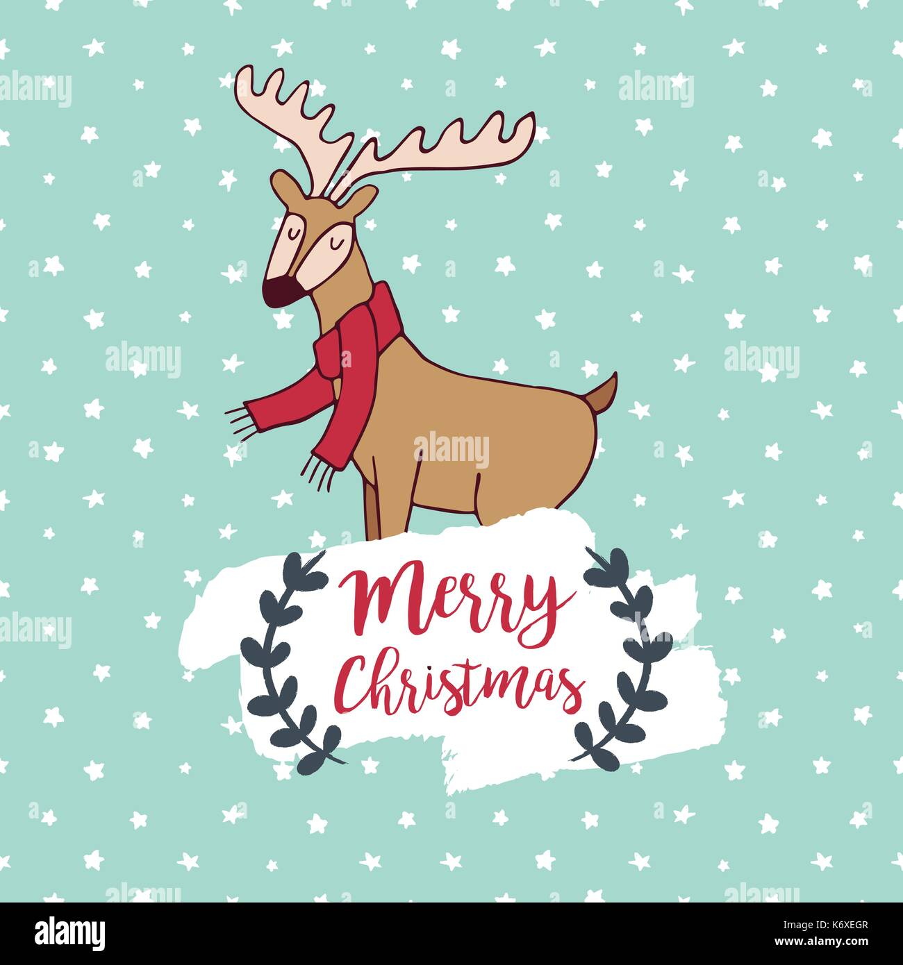 Merry Christmas Hand Drawn Reindeer Greeting Card Illustration Cute Deer Cartoon With Scarf Handwritten Typography Quote And Holiday Background EPS