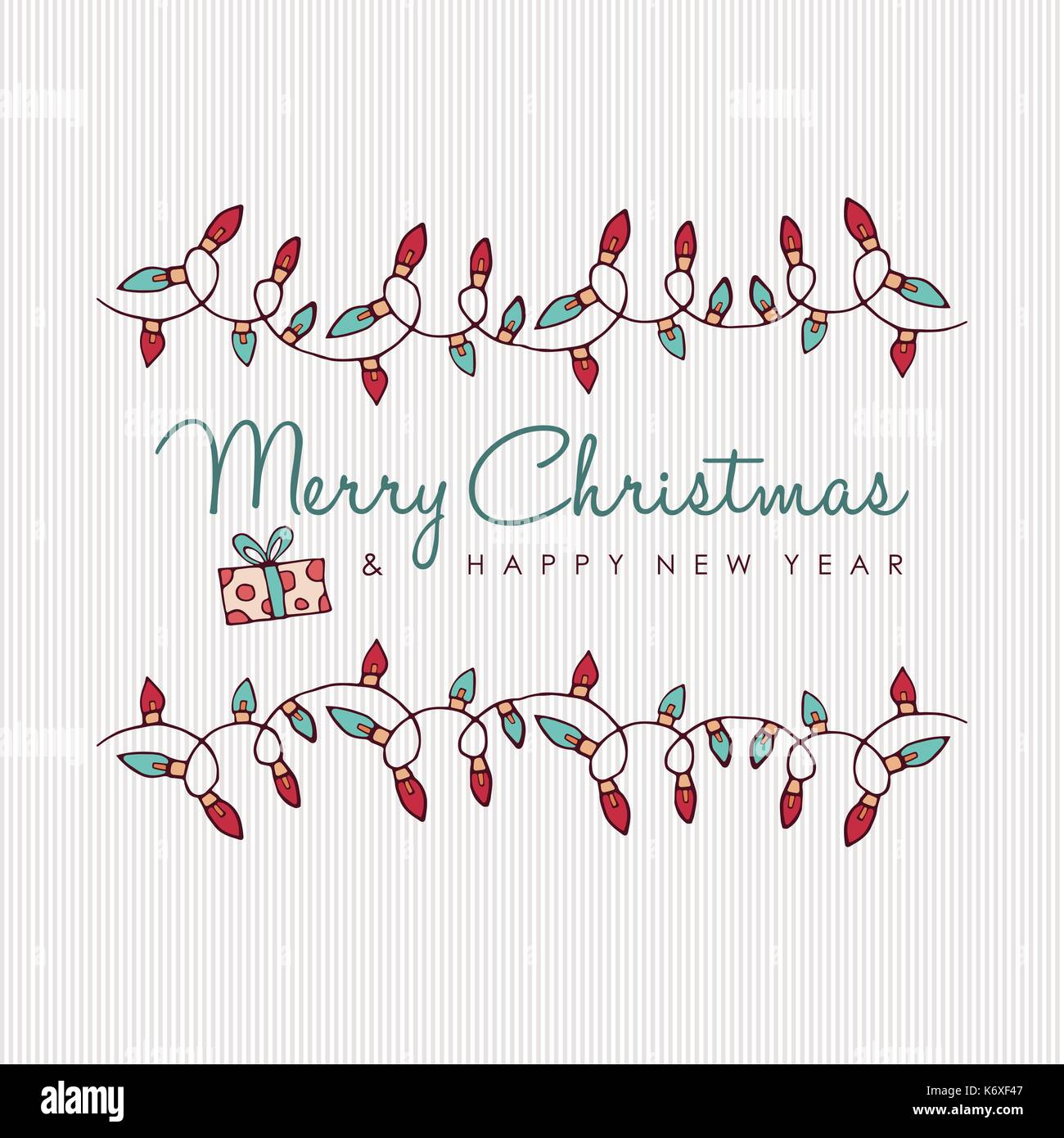 Merry Christmas And Happy New Year Hand Drawn Greeting Card