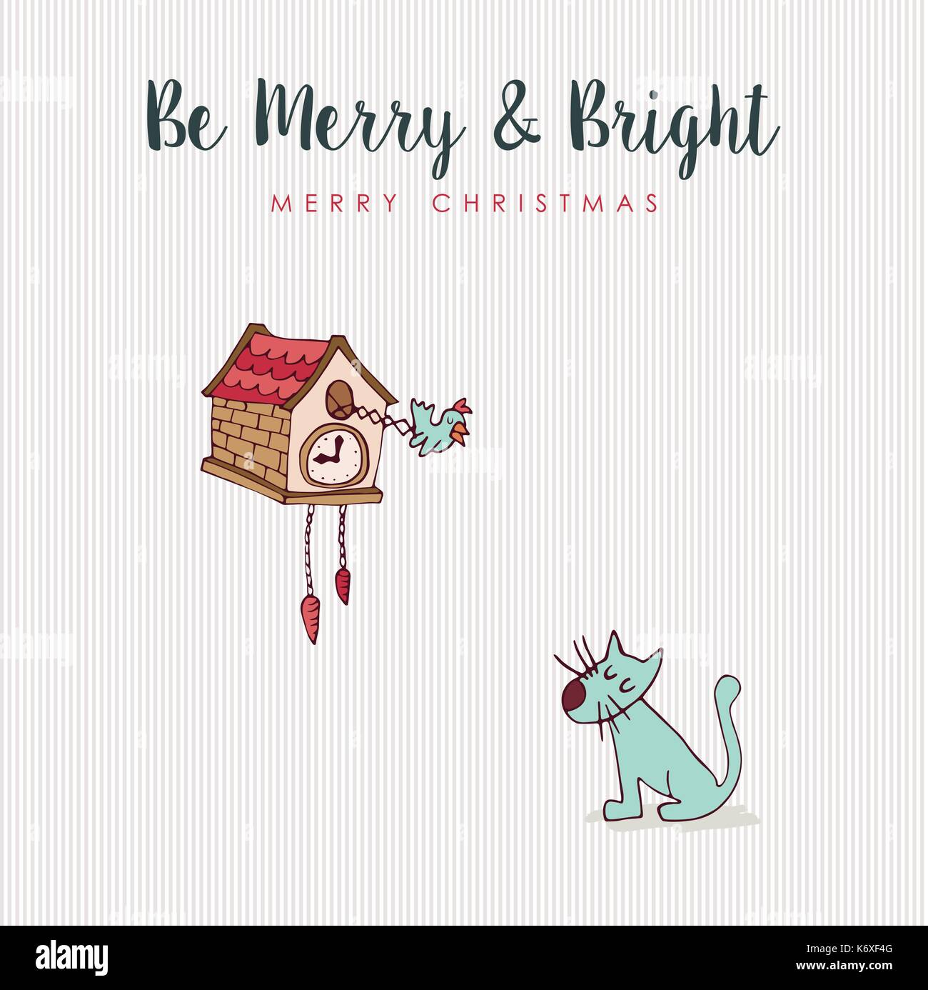 Merry Christmas Hand Drawn Animal Greeting Card Funny Cat And