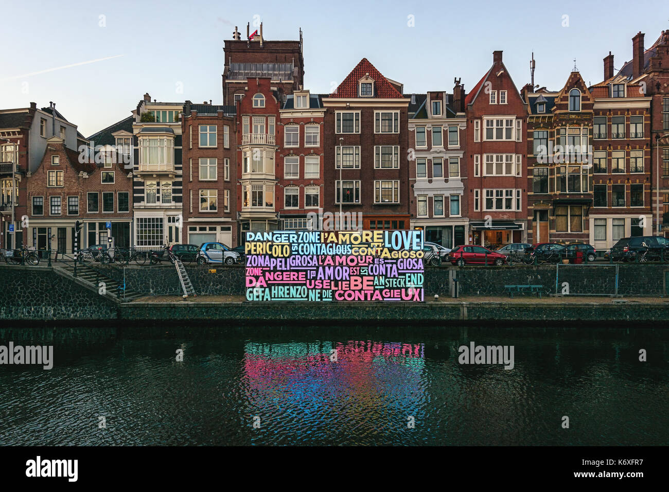 Amsterdam, Netherlands – January 5, 2017: Light Festival Amsterdam, a message of love in lights in an Amsterdam canal. - Stock Image
