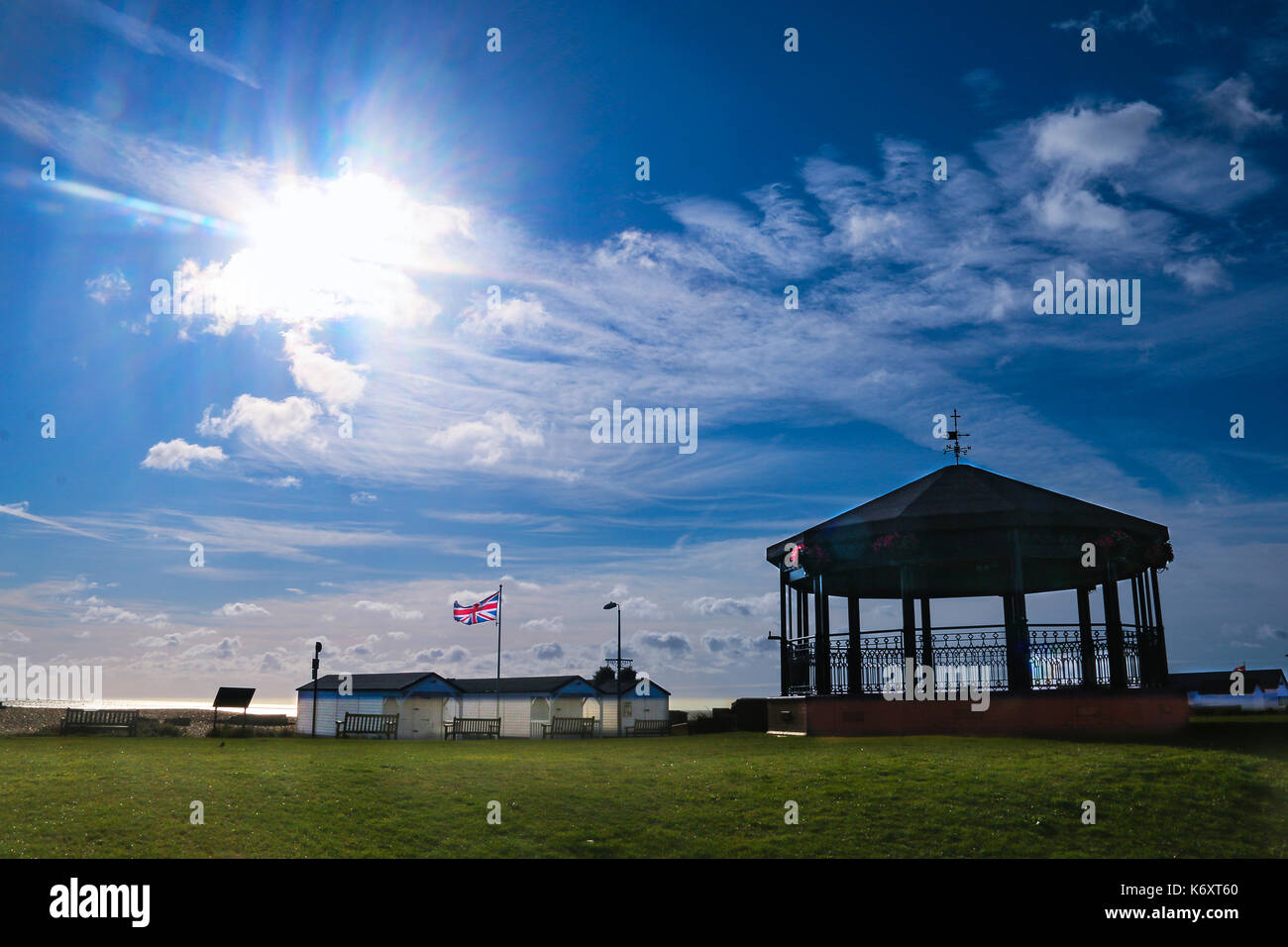 Walmer Memorial Bandstand under a blue sky - Stock Image