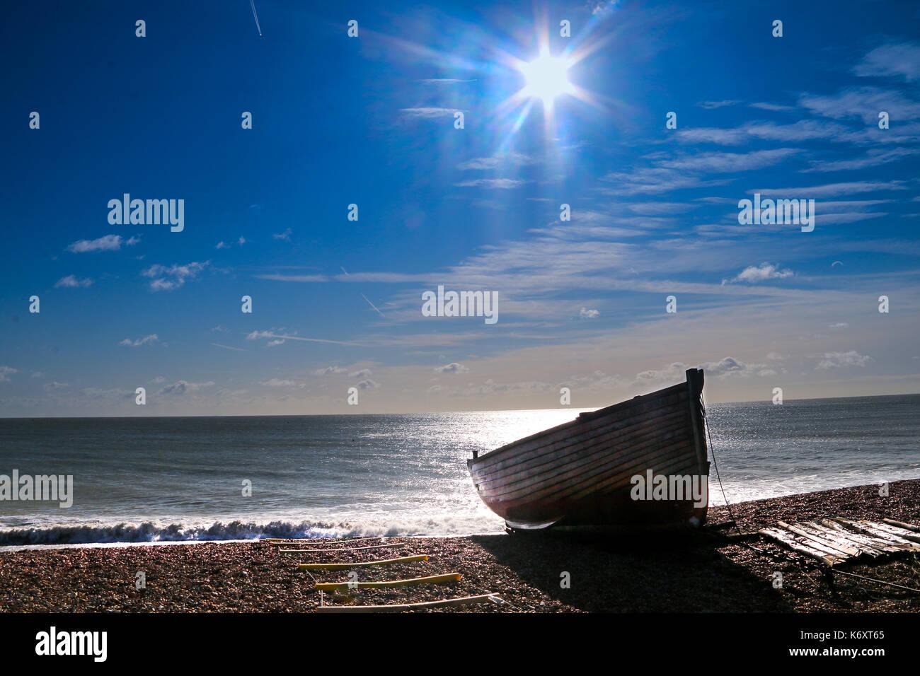 Rowboat on Walmer Beach - Stock Image
