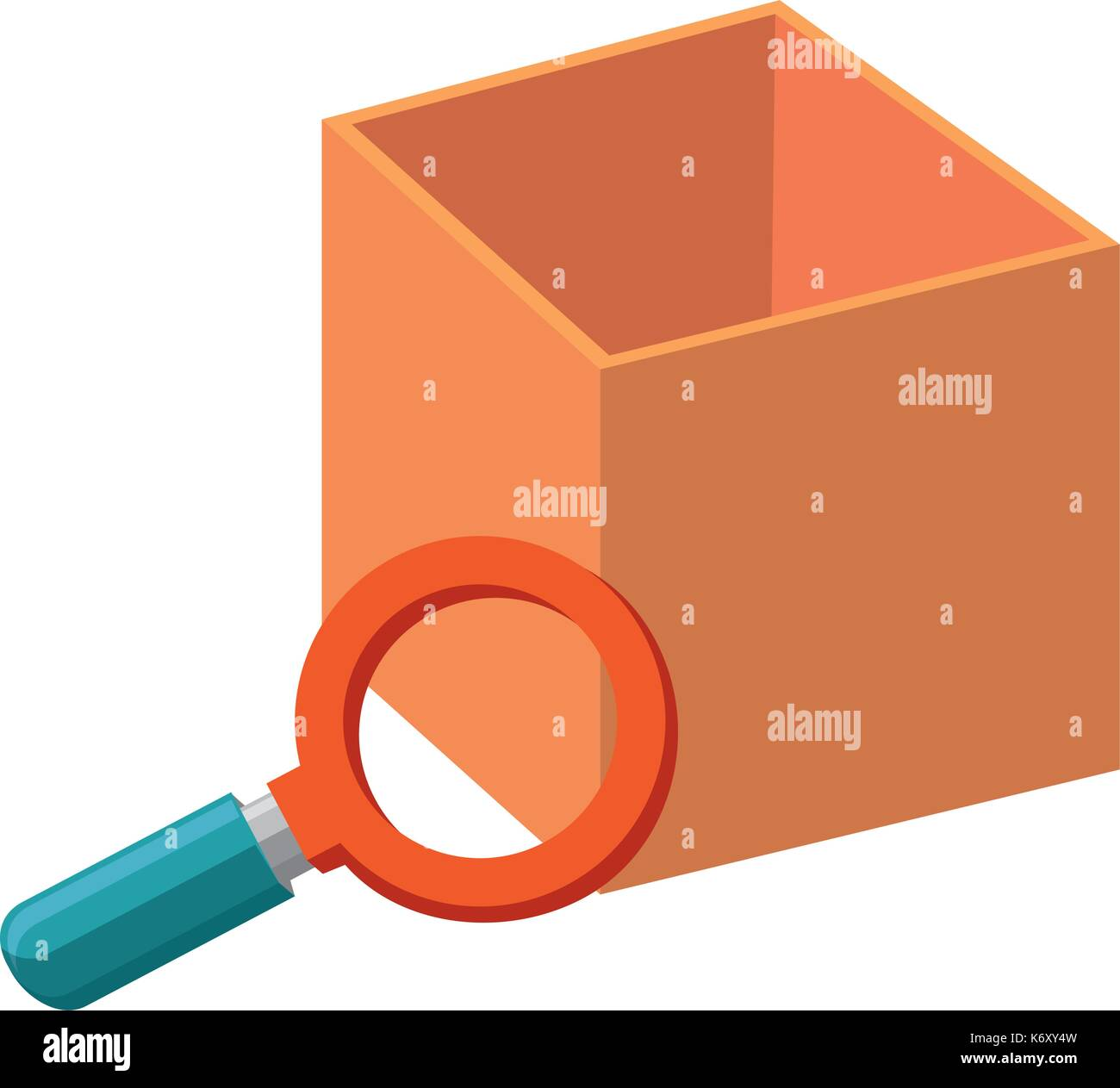 magnifying glass with box - Stock Image