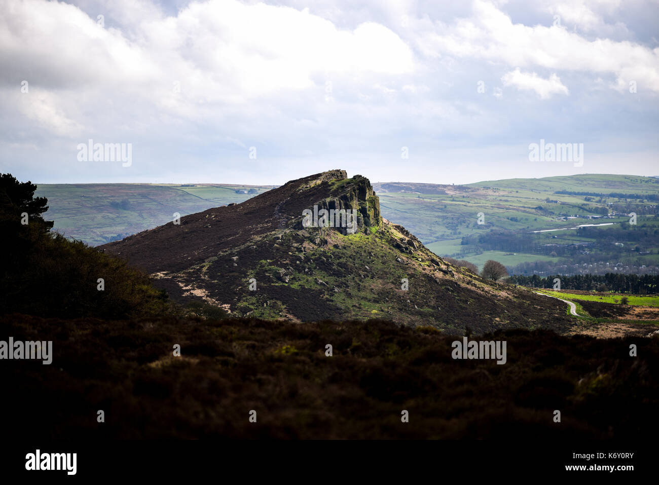 Hen Cloud from the Roaches, Peak District National Park, UK - Stock Image