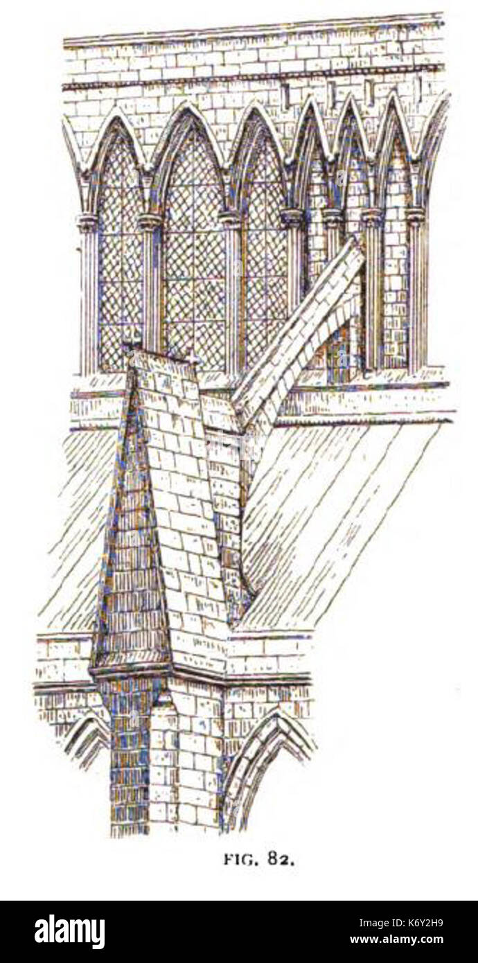 Fig 82  Flying Buttress and Clerestory, Nave of Lincoln Stock Photo