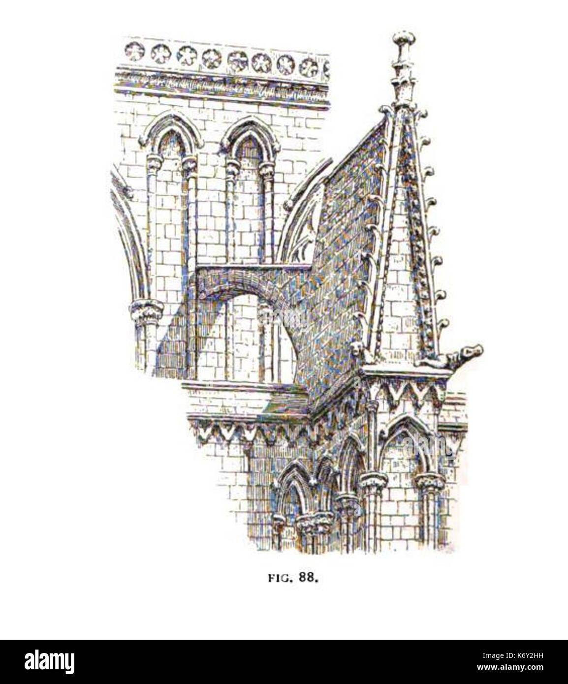 Fig 88  Flying Buttress and Clerestory, Presbytery of Lincoln Stock Photo