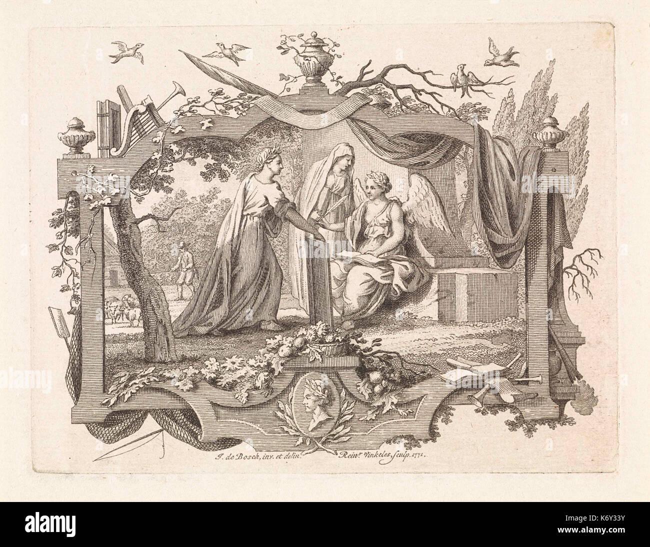 Engel en twee vrouwen in een allegorische omlijsting - Stock Image