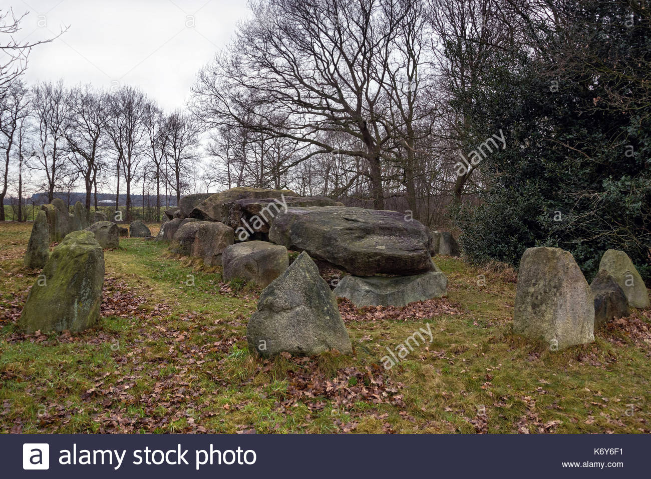 Dolmen D50,an ancient megalithic tomb in the Netherlands on a cloudy day in winter. - Stock Image