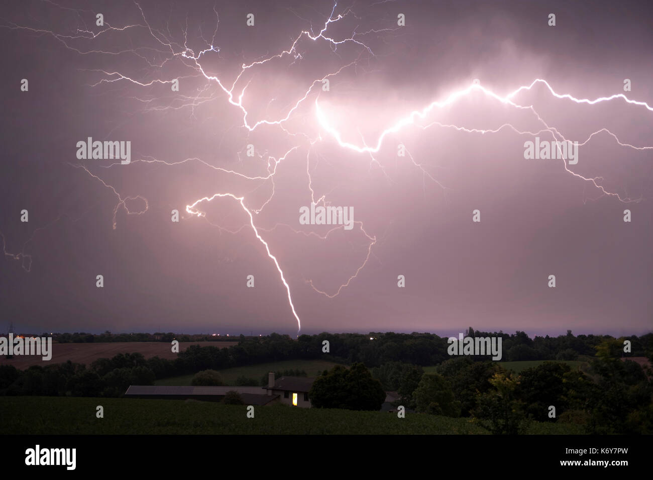 Lightening Strikes over farmland, Hoath, Nr Canterbury, KENT UK, 17th July 2014 - Stock Image