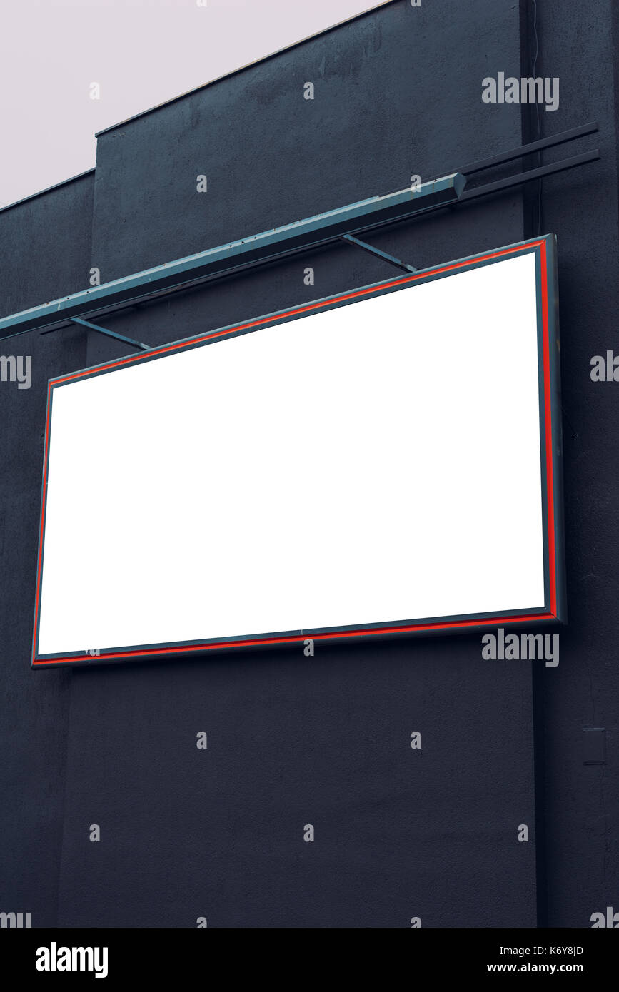 Blank advertising city billboard poster copy space on urban building for graphic design mock up - Stock Image