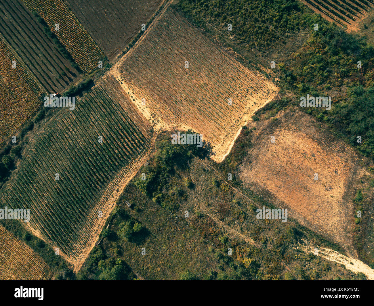 Aerial view of countryside as abstract natural background from drone point of view - Stock Image