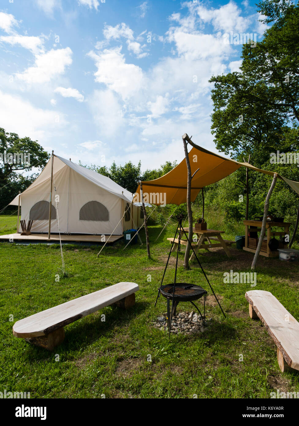 Top of the Woods Glamping and Campsite, Penrallt Farm, Boncath, Pembrokeshire, Wales, UK. - Stock Image
